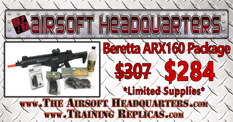"AIRSOFTC3 ELITE FORCE BERETTA AEG ARX-160 ""PLAYER PACKAGE"" save $23.00"