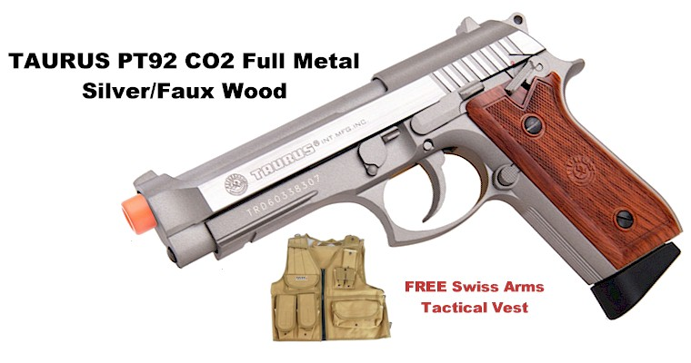 Taurus PT92 CO2 Full Metal Pistol, Silver/Faux Wood